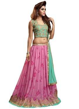 Pink Georgette Embroidered A Line Lehenga Choli