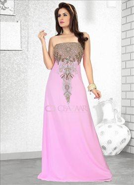 Pink Georgette Farasha Gown
