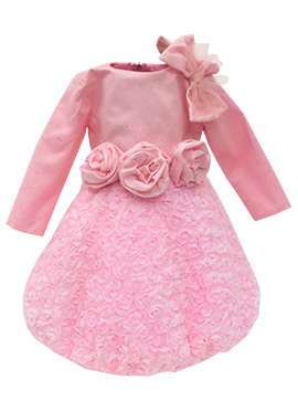 Fayon Pink Georgette Kids Dress