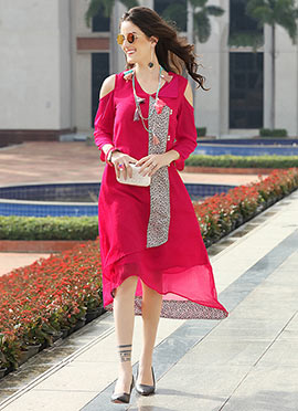 Pink Georgette Knee Length Kurti