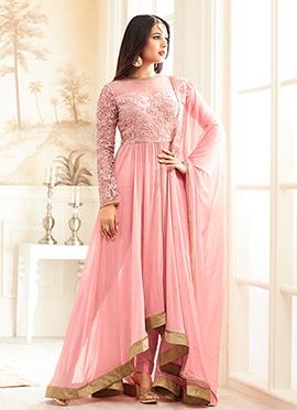 Pink Georgette Net Anarkali Suit