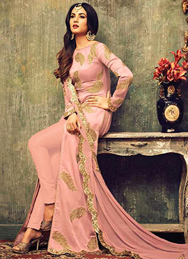 Pink Georgette Net Straight Pant Suit