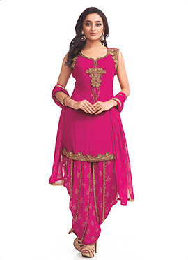 Pink Georgette Patiala Suit
