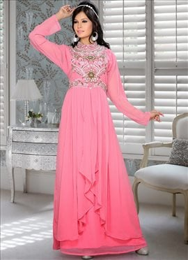 Pink Georgette Plus Size Fustan Dress