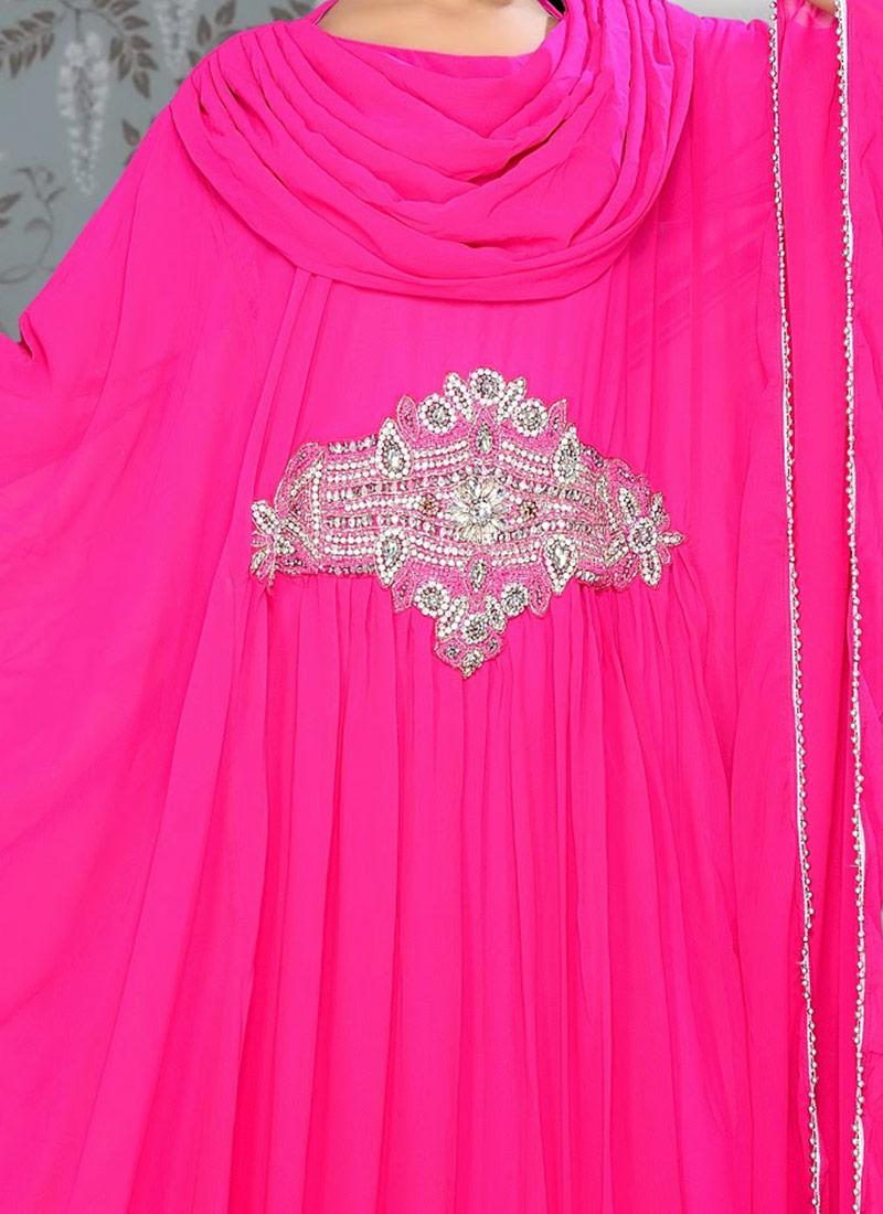 15465f76c3 Buy Pink Georgette Plus Size Kaftan Dress, Party Wear, tops and ...