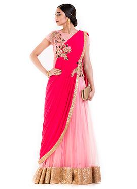 Pink Georgette Saree Gown