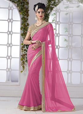 Pink Shimmer Georgette Saree