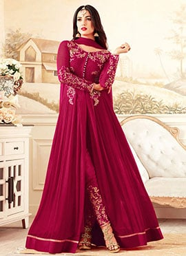 Pink Georgette Straight Pant Suit