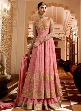 Pink Georgette Umbrella Lehenga