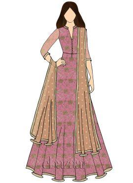Pink Gota Patti Net Abaya Style Anarkali Suit