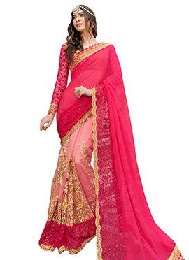 Pink Half N Half Saree