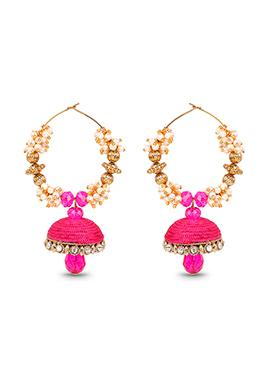 Pink Hoops Silk Thread Earrings