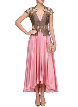 Pink Jacket Style Anarkali Gown