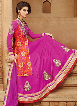 Pink Jacket Style Anarkali Suit