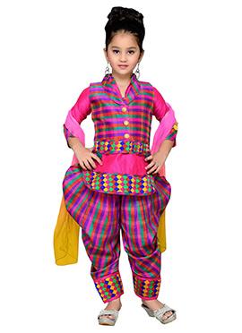 Pink Jacket Style Teens Patiala Suit