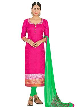 Pink Jacquard Art Benarasi Silk Straight Suit