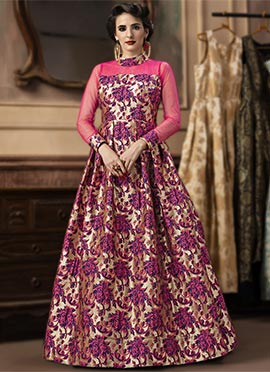 Pink Jacquard Gown