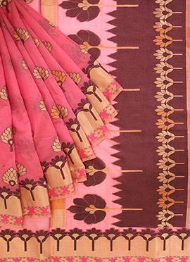 Pink Jacquard Kora Silk Saree
