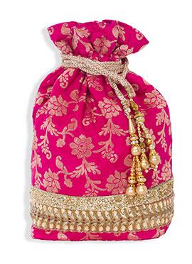 Pink Jacquard Potli Bag