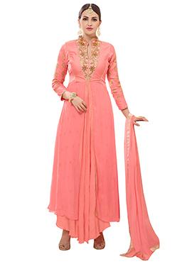 Pink Layered Abaya Style Anarkali Suit