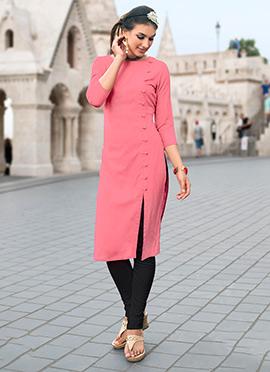 Pink Linen Cotton Kurti