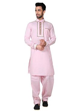 Pink Linen Cotton Pathani Set