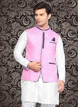 Pink Linen Nehru Jacket