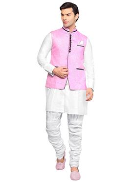Pink Linen Plus Size Bandhgala Jacket