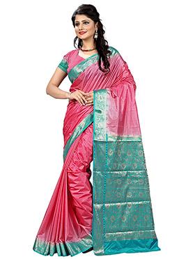 Pink Linen Zari Weaved Border Saree