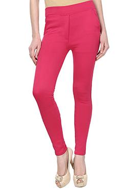 Pink Lycra Cotton Straight Pant