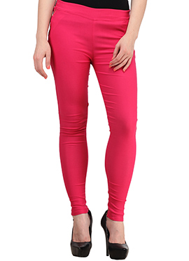 Pink Lycra Cotton Straight Pant