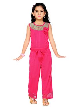 Pink Lycra Kids Jumpsuit