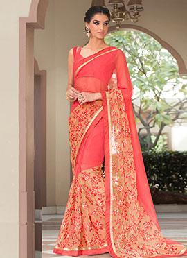 Pink Lycra Net Saree