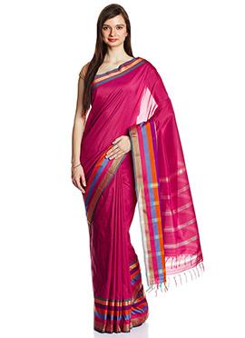 Pink Mangalgiri Poly Cotton Saree
