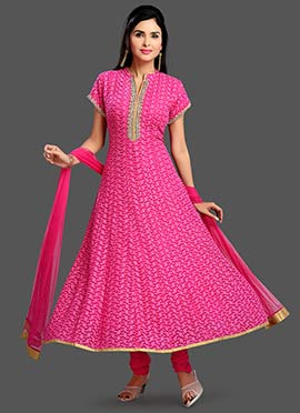 Pink Muslin Anarkali Suit