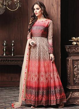 Pink N Beige Art Silk Abaya Style Anarkali Suit