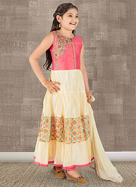 Pink N Beige Art Silk Anarkali Suit