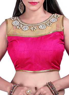 Pink N Beige Art Silk N Net Blouse
