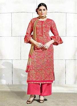 Pink N Beige Cotton Palazzo Suit