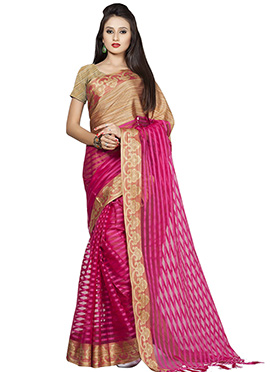 Pink N Beige Cotton Saree