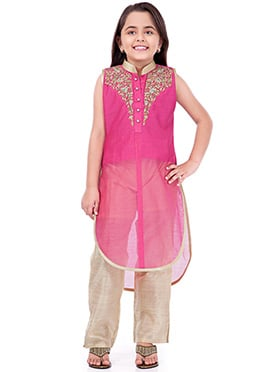 Pink N Beige Embroidered Straight Pant Set