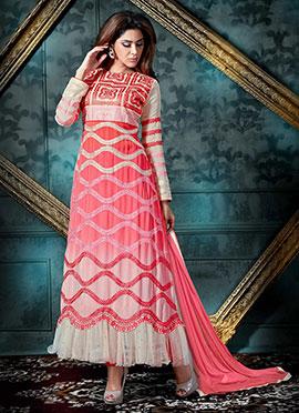 Pink N Beige Ombre Anarkali Suit