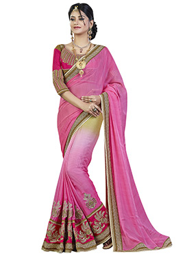 Pink N Beige Ombre Pure Chiffon Embroidered Saree
