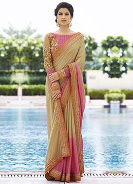 Pink N Beige Silk Saree