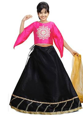 Pink N Black Art Silk Kids A Line Lehenga