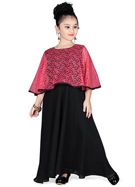 Pink N Black Cape Style Kids Gown