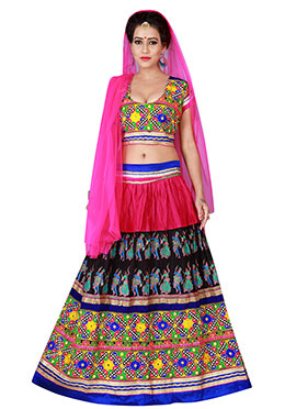Pink N Black Cotton Chaniya Choli Lehenga