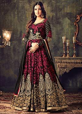 Pink N Black Georgette Abaya Style Anarkali Suit
