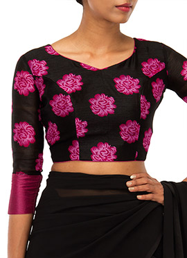 Pink N Black Printed Blouse