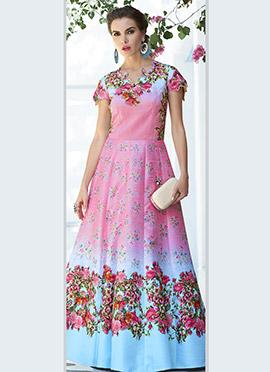 Pink N Blue Art Silk Anarkali Gown